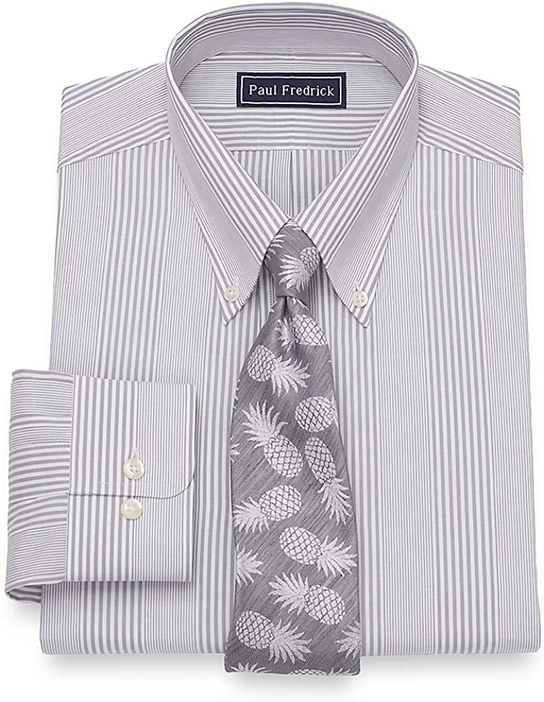 Paul Fredrick Mens Cotton Stripe Button Cuff Dress Shirt
