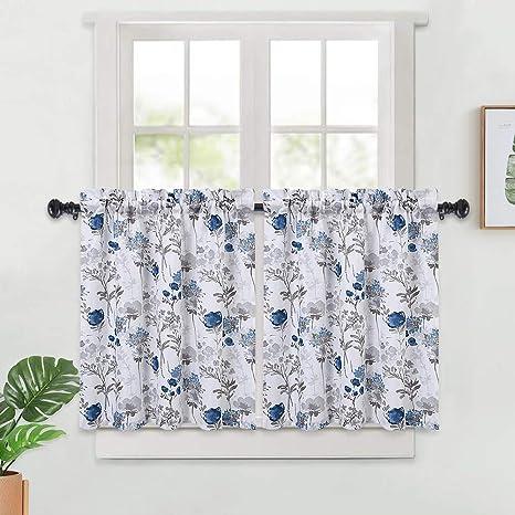 Amazon Com Haperlare Tier Curtains For Kitchen Window Blue Floral Pattern Short Bathroom Curtain Leaf Flower Design Half Cafe 27 X 30 Grey Set Of 2 Home