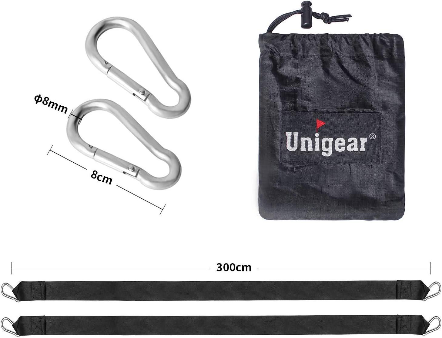 Portata Massima 500 kg Kit di Fissaggio per Amaca sospeso con Due Ganci moschettone Unigear Set di 2 Corda per Altalena Cinghie di 1.5 m//3 m in Poliestere per Bambini e Adults