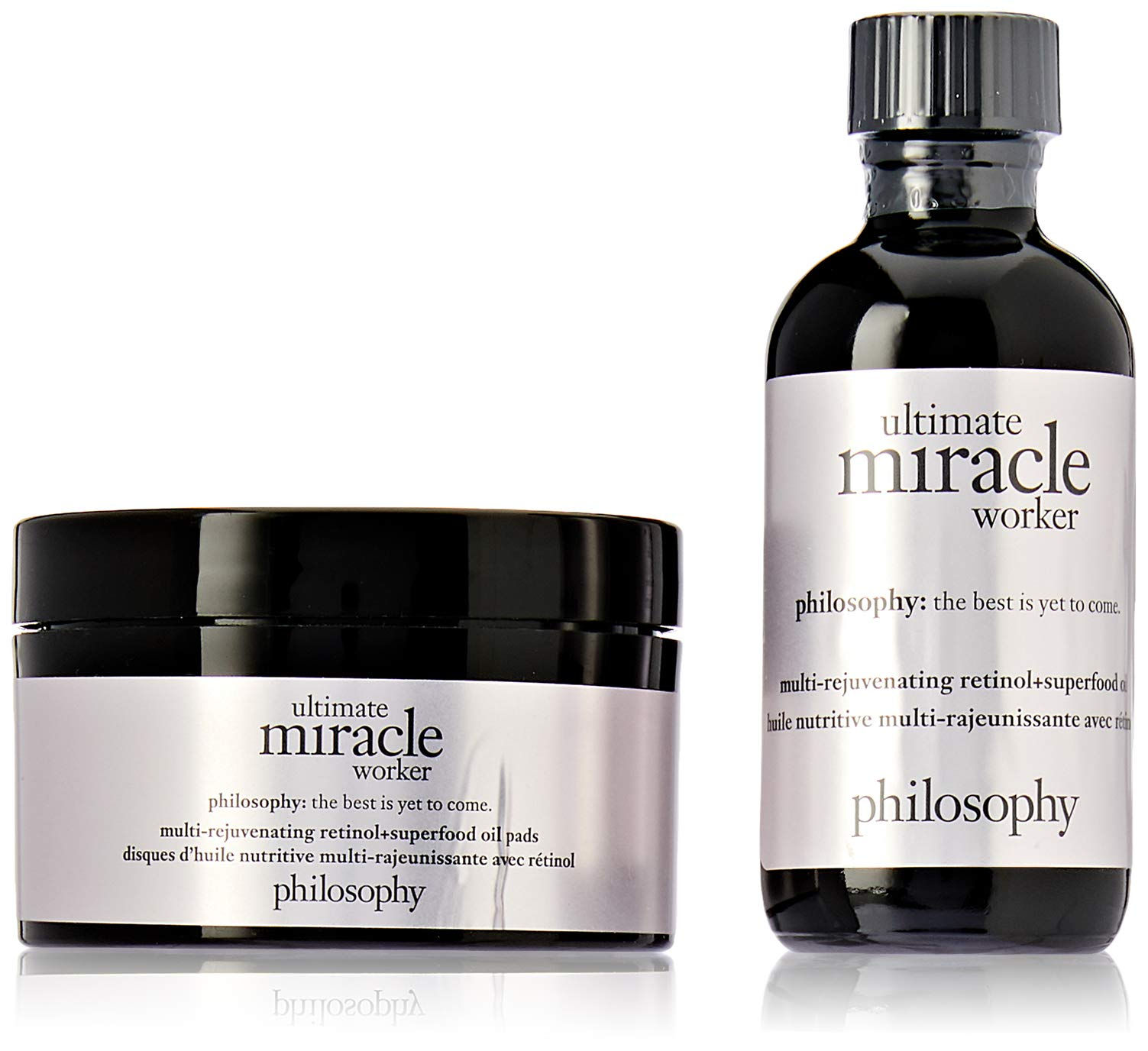 Philosophy Ultimate Miracle Worker By Philosophy for Unisex - 2 Pc Set 2oz Multi-rejuvenating Retinol & Superfood Oil & Pads, 60 Pads, 2count