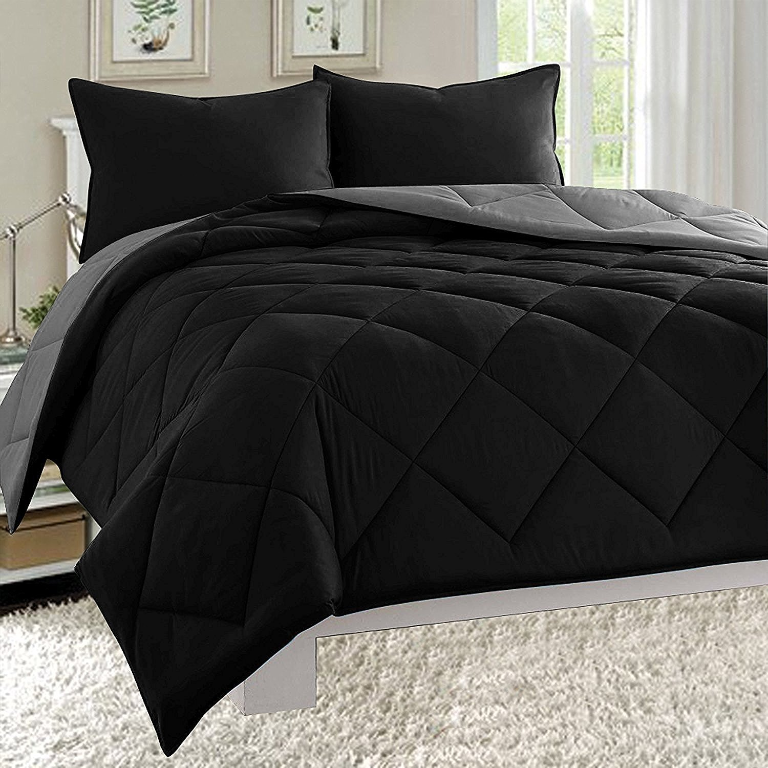 Elegant Comfort All Season Light Weight Down Alternative Reversible 3-Piece Comforter Set, Full/Queen, Black/Grey