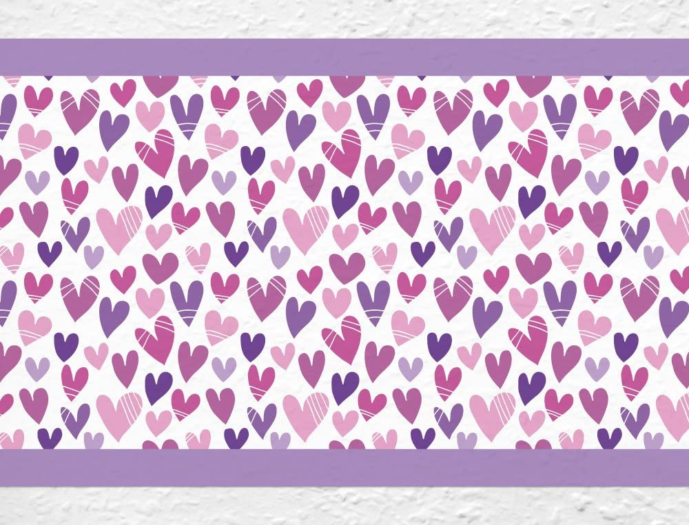 15 cm; Breite H/öhe 5 m I-love-Wandtattoo Sticker mural B de 10142/Chambre Frise c?urs dans violet filles Chambre D/écoration murale sticker mural stickers muraux sticker mural