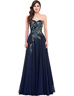 d0b5624978 Amazon.com  GRACE KARIN Long Strapless Embroidery Prom Dress A-line ...