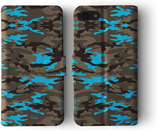 34 - Faded Pink Tirita Personalised Custom Initials Wallet Leather Flip Phone Case//Cover compatible with iPhone 7//8 SE 2020 Camouflage Camo Pattern