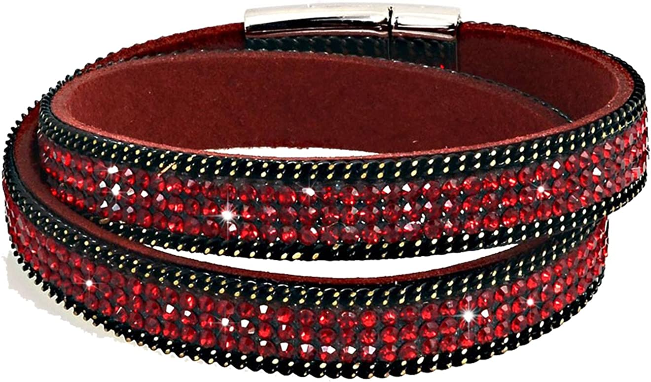 Bracelet Wrap Slake Strass Brillants Double Tour En cuir de Daim Noir
