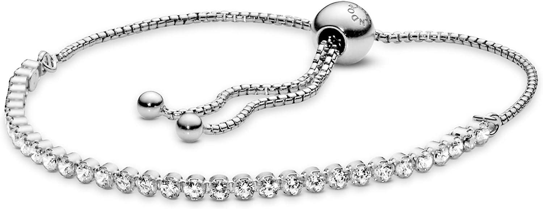 PANDORA Jewelry Sparkling Slider Tennis Cubic Zirconia Bracelet in Sterling Silver