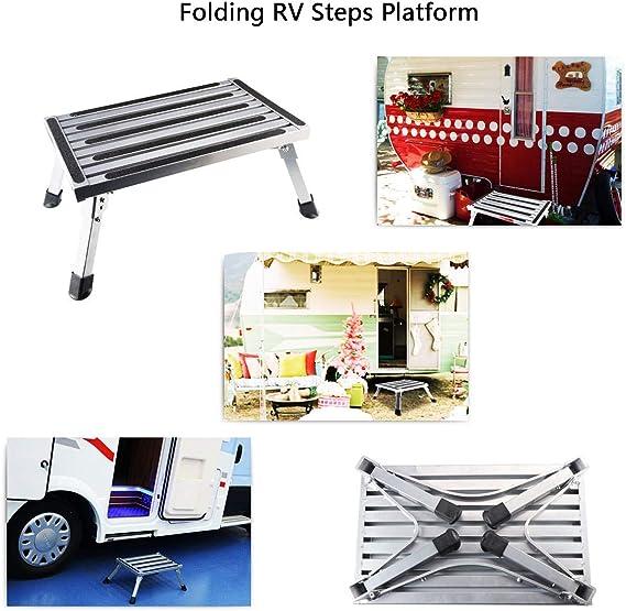 Plataforma plegable de aleación de aluminio portátil antideslizante para autocaravana, remolques, SUV: Amazon.es: Oficina y papelería