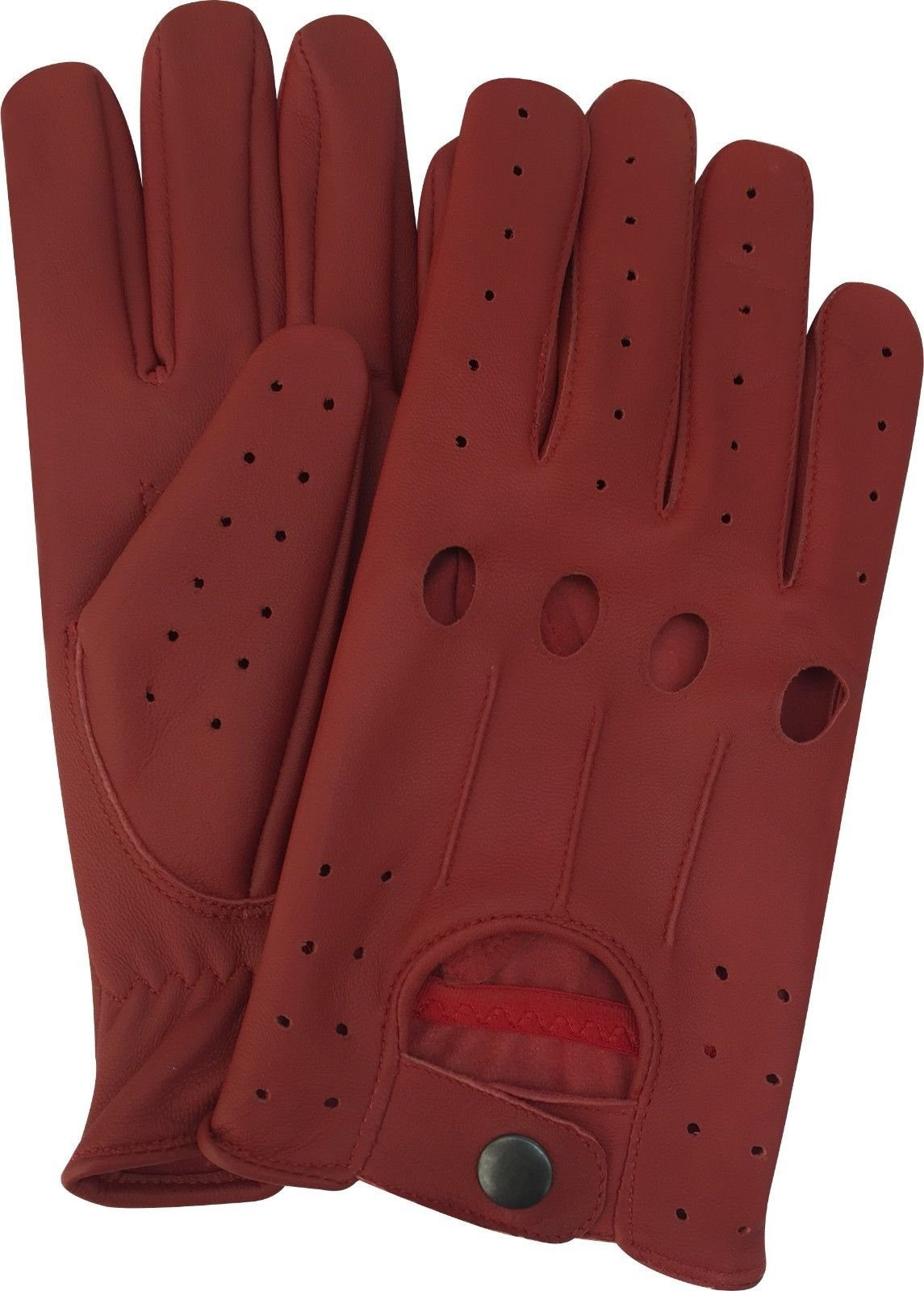 A K Leather Men's Unlined Lambskin Soft Leather Fashion Driving Gloves (Small, Red)