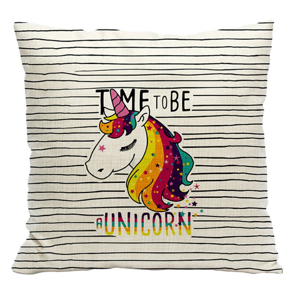 HENGSONG Unicorn Printed Pillow Case Cotton Linen Throw Pillow Cover Cushion Cover PillowCase Home Bedroom Decor (Style 3) Mei_mei9