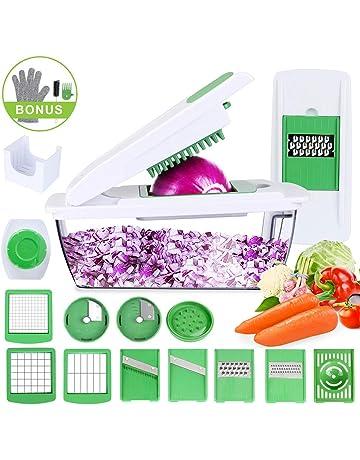 Cortador de Verduras Mandolina Multiusos 15 en 1 Slicer de Vegetales Profesional Rallador Corta Espiral Frutas