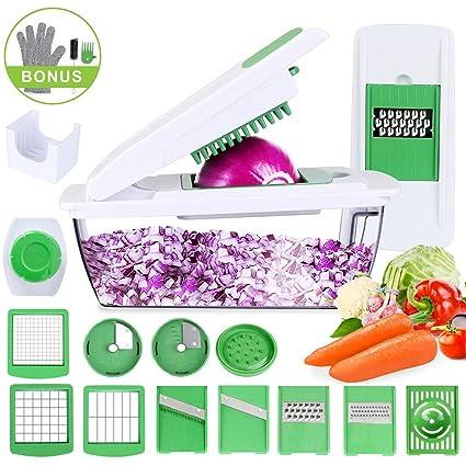Cortador de Verduras Mandolina Multiusos Slicer de Vegetales Profesional Rallador Corta Espiral Frutas 9 Cuchillas Acero Inoxidable,Guantes,Protector ...