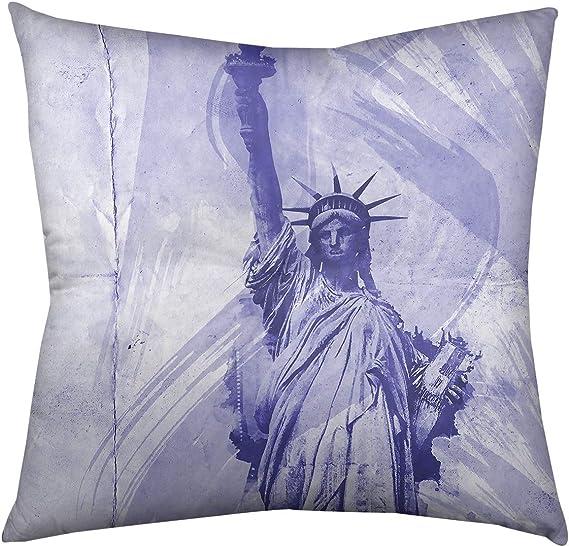 Amazon Com Artverse David Khieu Watercolor Statue Of Liberty Floor Pillow Square Tufted 26 X 26 Blue Home Kitchen