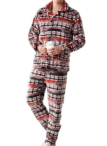 PFSYR Pijamas De Franela De Los Hombres Gruesos Invierno del Invierno Pijamas De Manga Larga Servicio