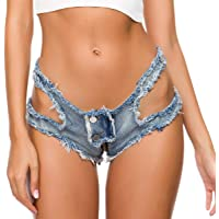 MMIAOO Womens Ripped Hole Pants Denim Shorts,Denim Shorts hot Pants,Sexy Mini Jeans Shorts