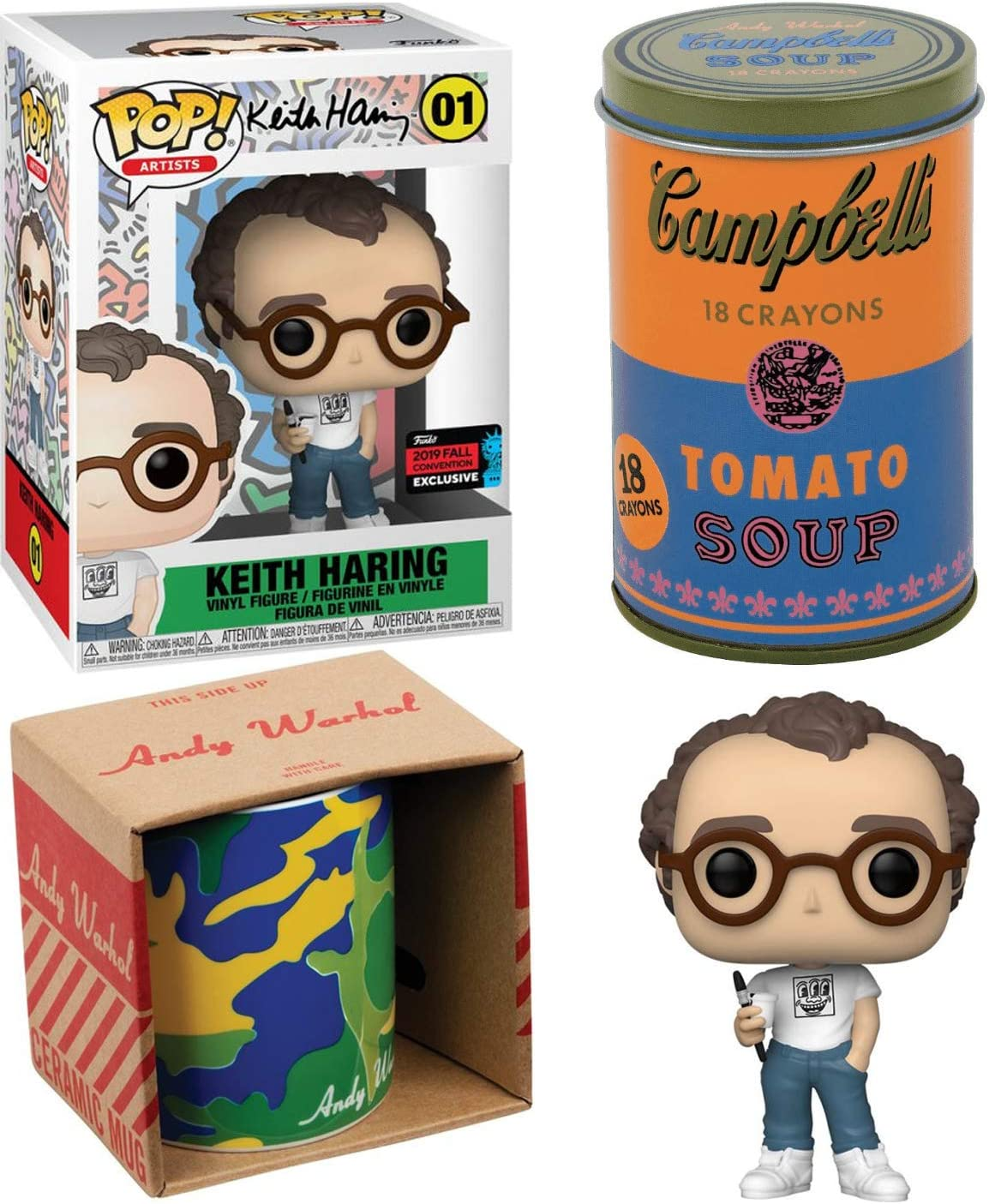 Factory Artists Pop Keith Haring Art Series Figure Exclusive Bundled with Andy Warhol Soup Can Crayons Camouflage Mug 3 Items