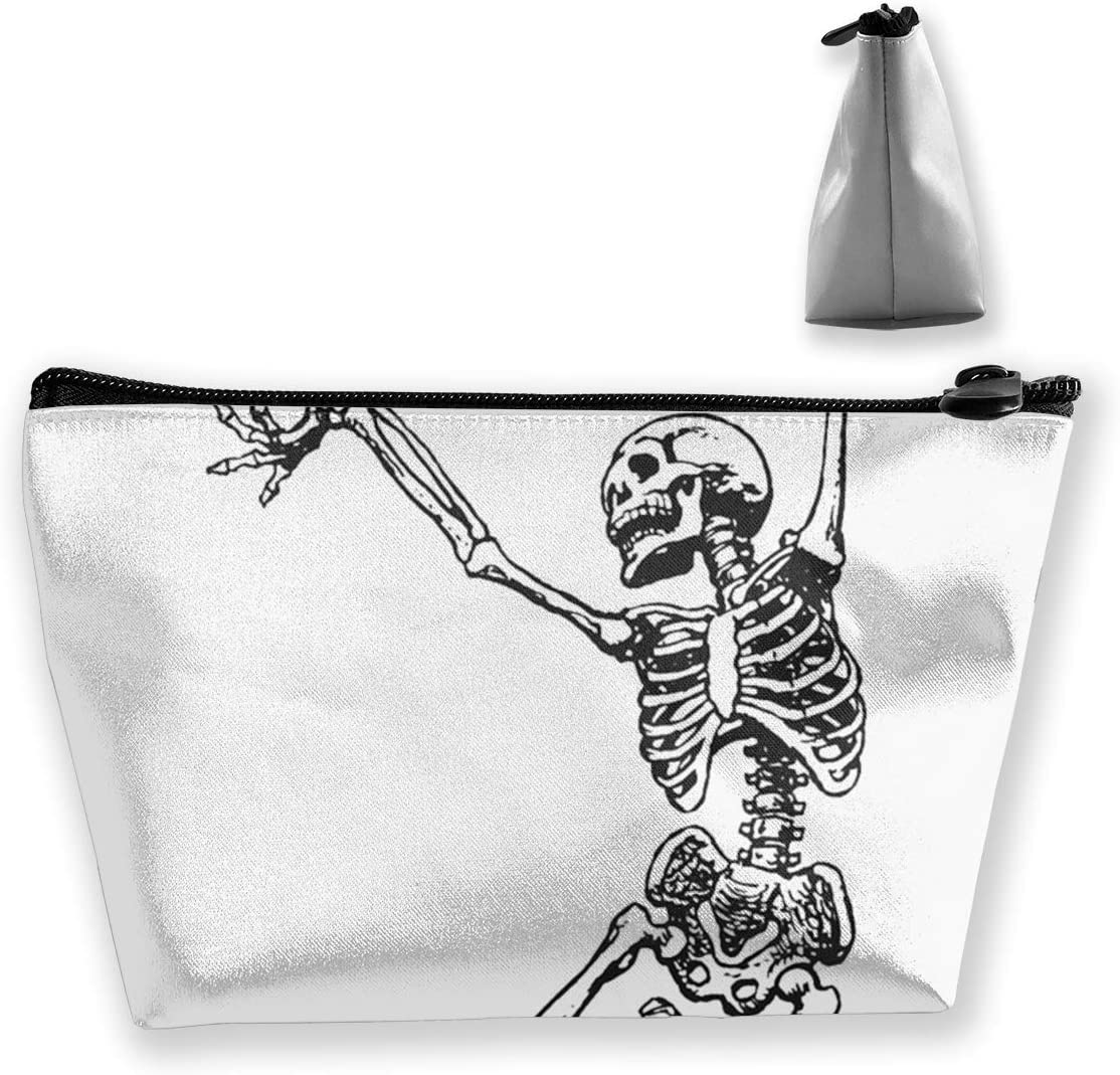 ShuanBBt Dancing Skeleton Cosmetic Bag,Makeup Organizer,Toiletry Pouch,for Brushes,Pencil Case,Accessories,Travel,Girls,Gift Idea