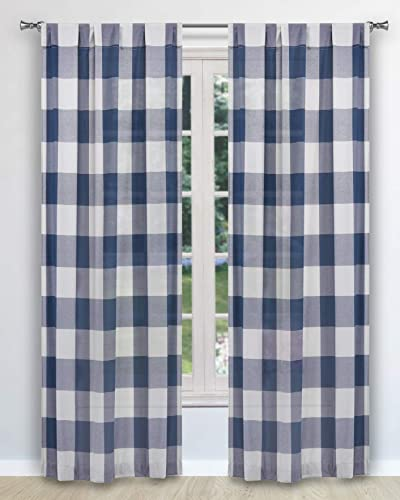 Blackout 365 Aaron Buffalo Check Window Curtain, 37 W x 84 L, Navy Pole Top