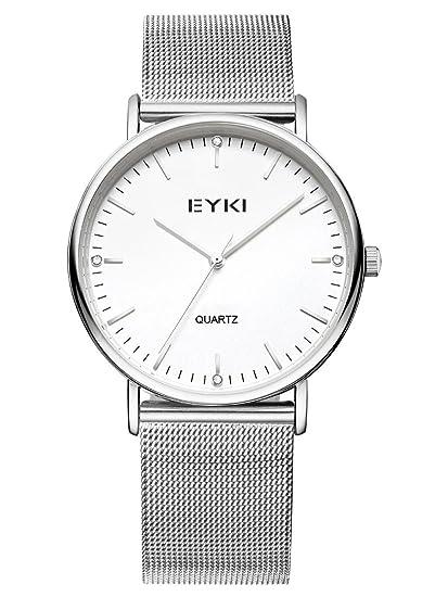 Alienwork Reloj Unisex Relojes Mujer Hombre Acero Inoxidable Plata Analógicos Cuarzo Blanco Impermeable Ultra-Delgada: Amazon.es: Relojes