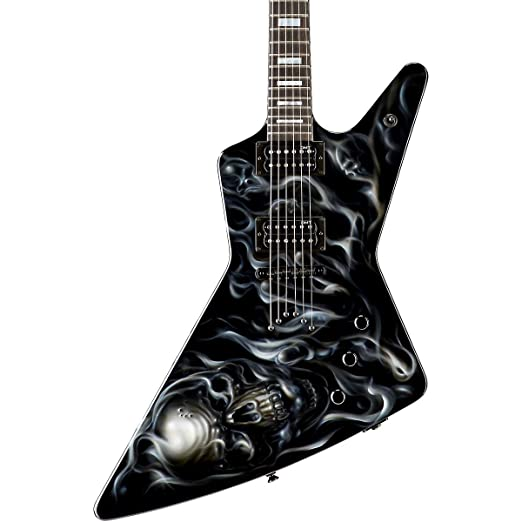 Amazon.com: Dean Custom Z Hand Painted Graphic Electric Guitar Skull ...