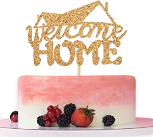 Gold Glitter Welcome Home Cake Topper, Welcome Back, Retirement/Housewarming Party Decoration Supplies