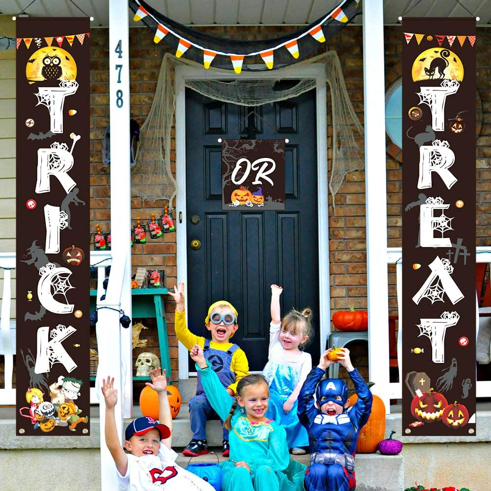 Trick or Treat Halloween Banner, Halloween Decorations Outdoor Halloween Front Porch Décor for Halloween Gate Garden Home Party Decorations, 3 Pieces