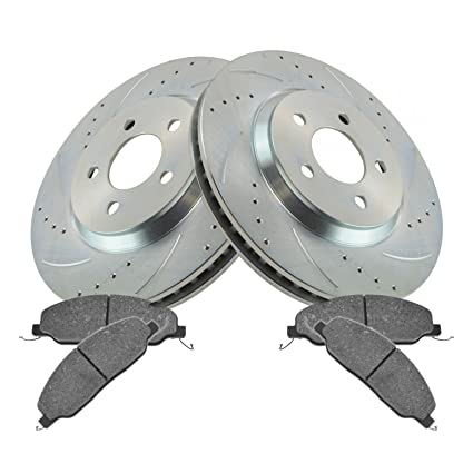 Front Metallic Brake Pad /& Performance Drilled Slotted Coated Rotors for Chevy