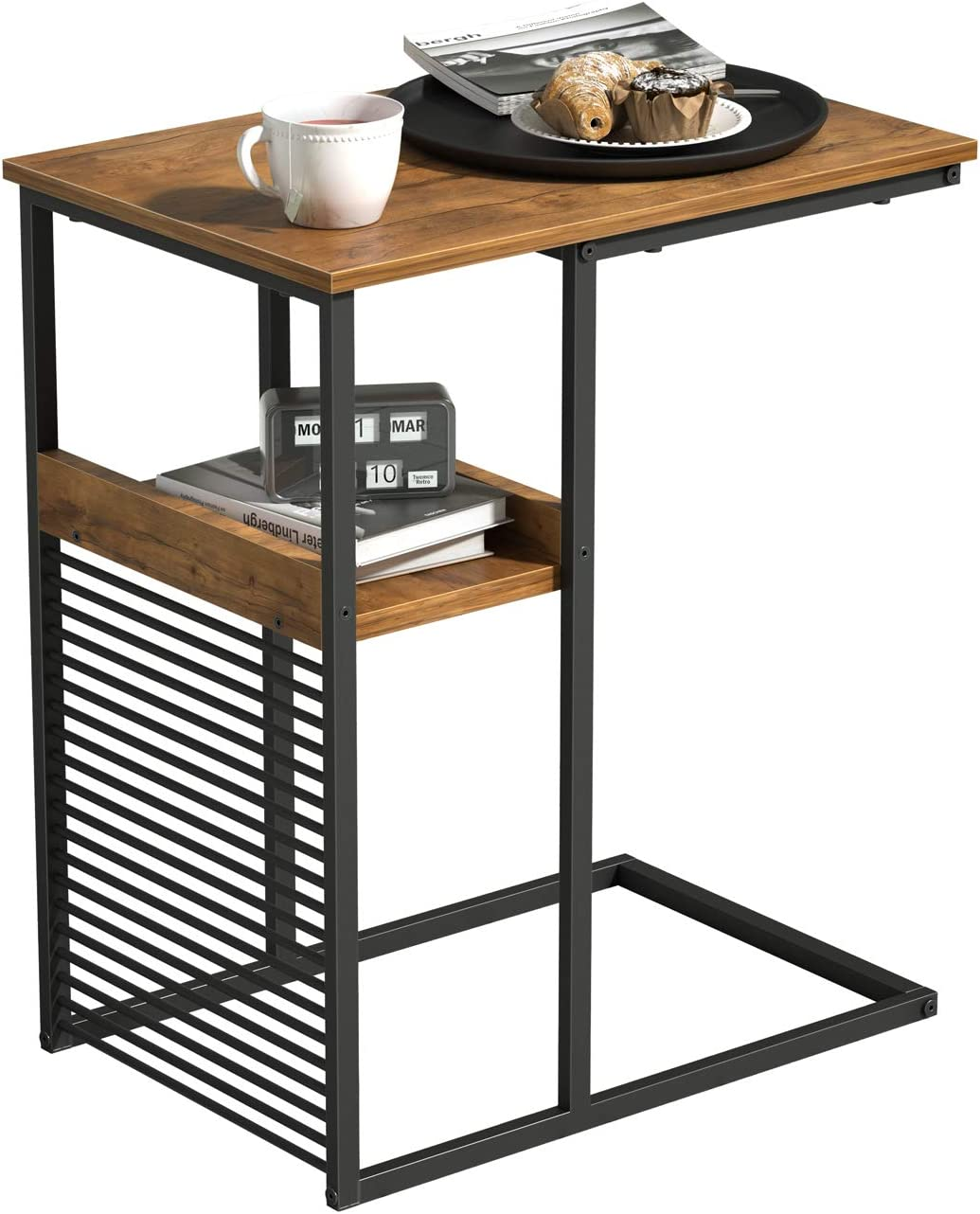 Cubiker Sofa Side End Table, Side Table with Wooden Shelf, C Shaped Couch Table for Living Room, Bedroom, Metal Frame Nightstand