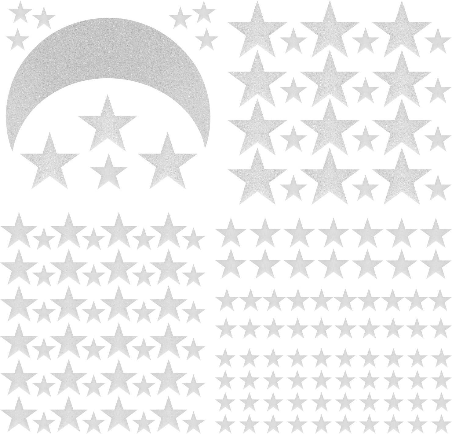 Tama/ños Mixtos 280 Calcoman/ía de Pared de Estrellas con 1 Pegatina de Luna Adhesivo Vinilo Extra/íble de Luna Estrella de Plata Met/álica Decoraci/ón de Palo de C/áscara para Ni/ños Dormitorio Infantil