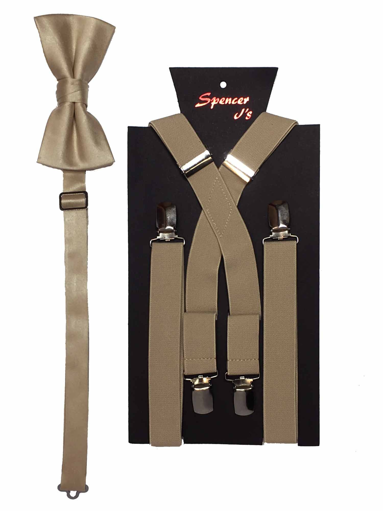 Spencer J's Men's X Back Suspenders & Bowtie Set Verity of Colors (Champagne)