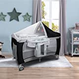 Costway Infant Travel Cot Bed Baby Play Pen Child Bassinet Playpen Entryway W/ Bag & Net Christmas Gifts (Black)