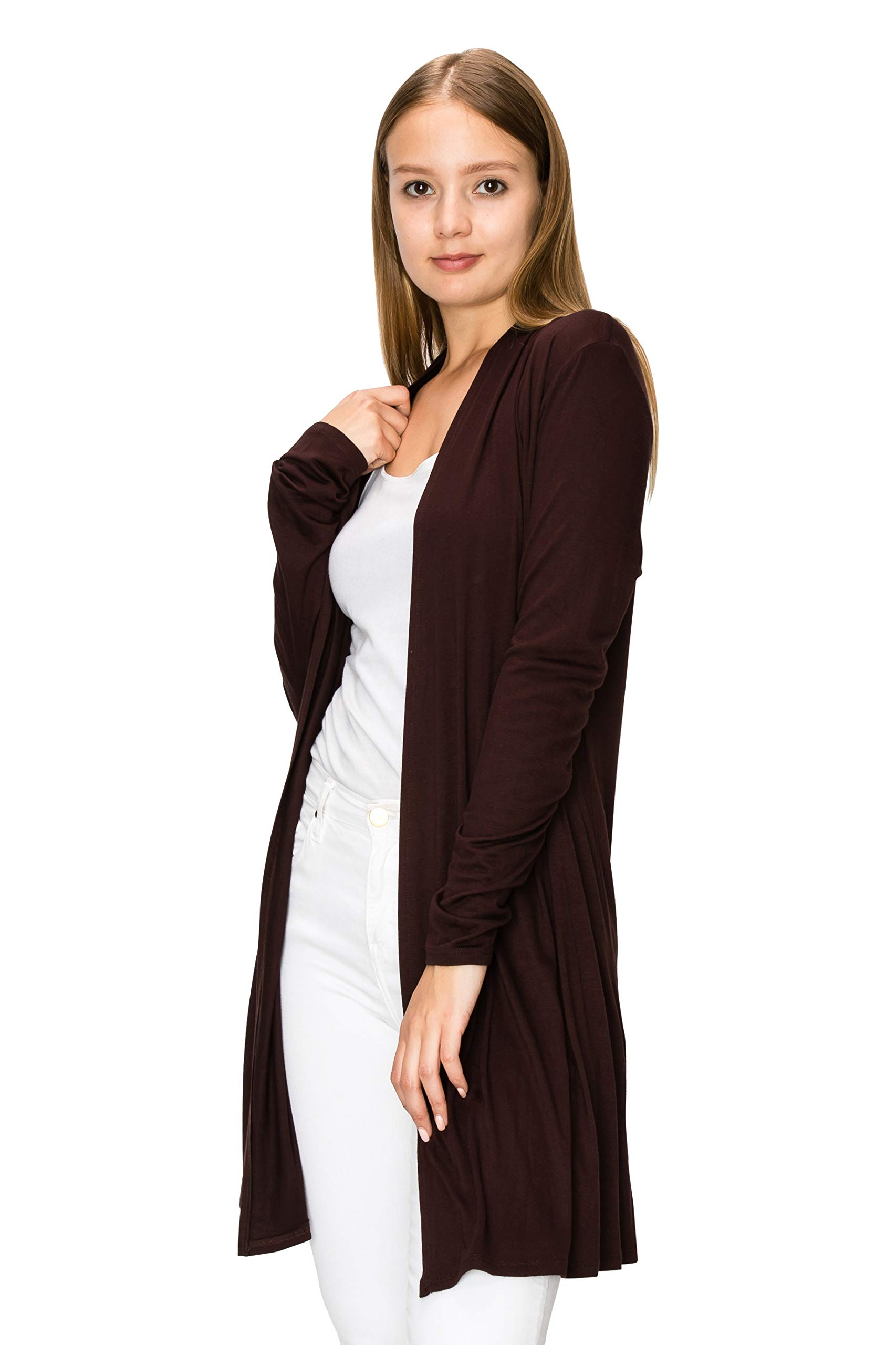 EttelLut Long Open Front Lightweight Cardigan Sweaters Regular and Plus Size Brown XXXL