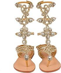10d3a2723f23 Mystique Original Genuine Leather Handmade Women s Gold Jeweled    Embellished Crystal Gladiator Sandals