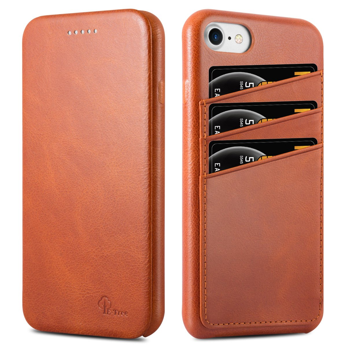 iPhone 7 Case, iPhone 8 Case, E-Tree Genuine Leather Case Ultra Slim Flip Folio Cover w/ Business Card Holders Slots Anti-scratch 360°Full Body Protection 4.7'' for Apple iPhone 7 & iPhone 8 - Brown