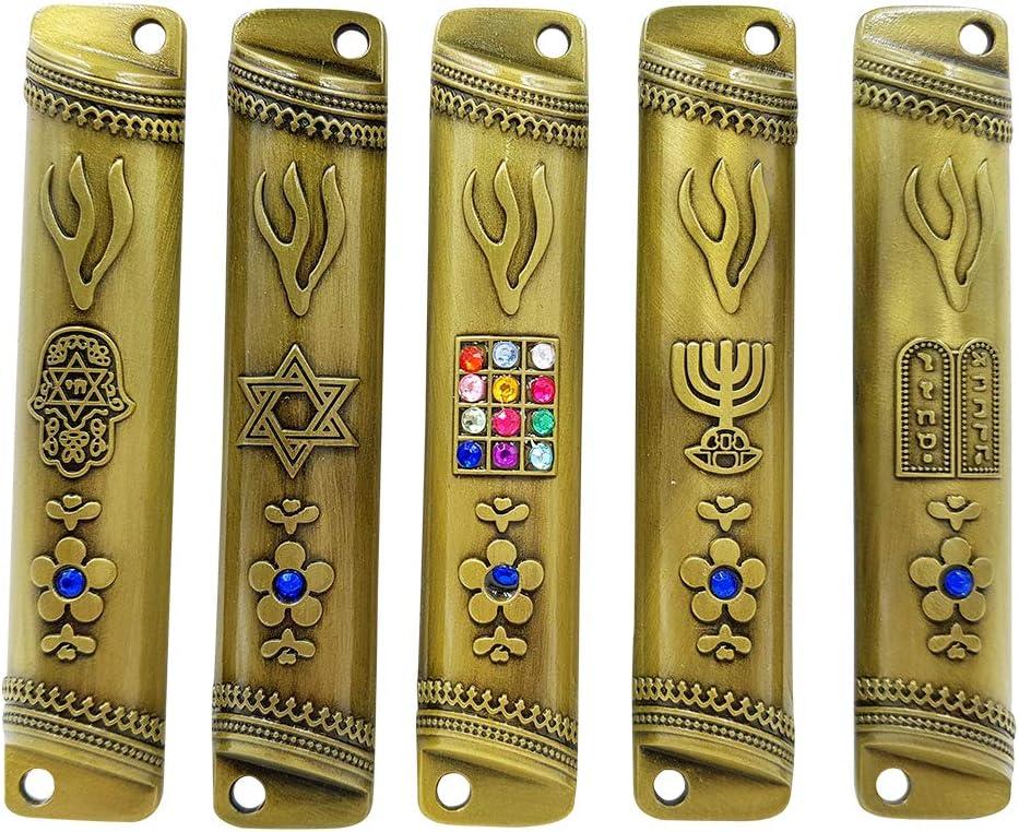 Amazon Com Talisman4u Set Of 5 Brass Jewish Mezuzah Case Hoshen 12 Tribes Of Israel Star Of David Menorah Hamsa 10 Commandments Door Mezuza With Scroll 3 5 Inches Home Kitchen
