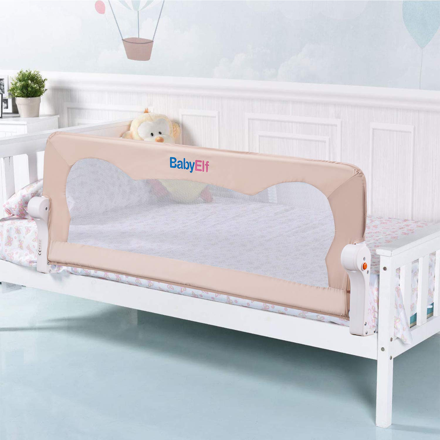 Bed Rails for Toddlers 47 inch - BABY ELF Swing Down Safety Bedrail - Portable Bed Guard for Kids Twin, Double, Full Size Queen & King Mattress (Beige)