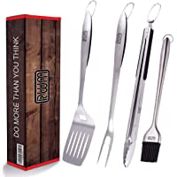 RWM BBQ Grill Tool Set - Heavy Duty Integrated Extra Thick Extension Stainless Steel Grill Utensil Set,Spatula, Basting…