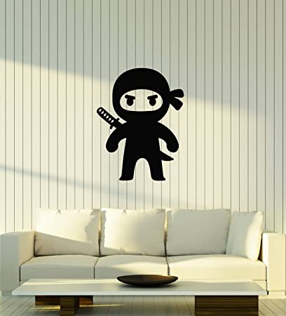 Amazon.com: Large Vinyl Wall Decal Funny Ninja Kids Boys ...