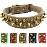 Anti-bite Spiked Studded Dog Collar Adjustable Stylish Leather Dog Collar for Puppy Small Medium and Large Dogs (Retro Grey,S