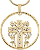 "Religious Cross Pendant and Necklace, Hand Cut Religious Cross Medallion, 1 1/4"", (# 875)"
