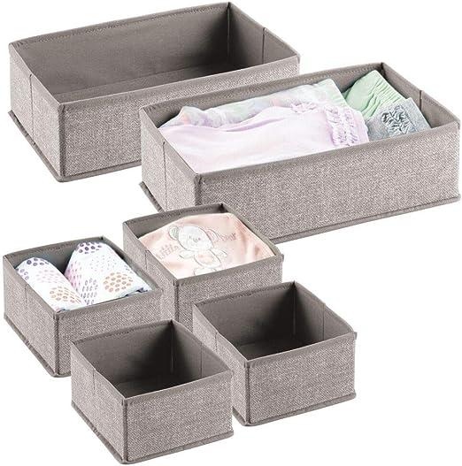 mDesign Juego de 6 Cajas para Guardar Ropa – Organizador de Armario en 2 tamaños para el Dormitorio Infantil – Cajas organizadoras de Fibra sintética con diseño Atractivo – Beige: Amazon.es: Hogar