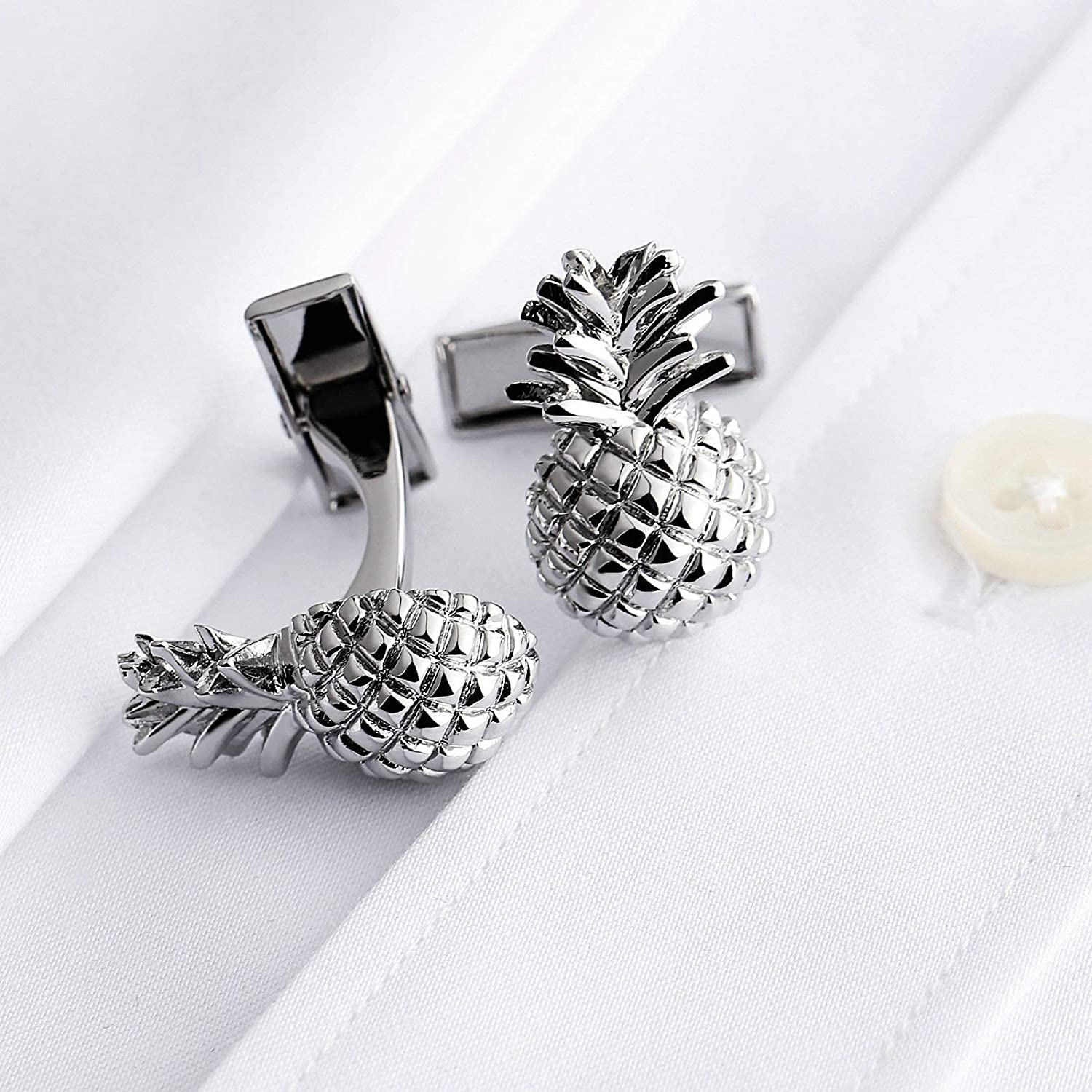 B07PKLRFQ5 Aooaz Cufflink for Men Stainless Steel Cufflink Pineapple Silver Cufflinks Formal Business Wedding Shirts 71RlKqe0jaL