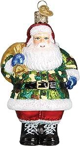 Old World Christmas Assortment Glass Blown Ornaments for Christmas Tree Camo Santa