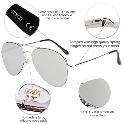 6de1c69d42 SOJOS Men s Polycarbonate Aviator Mirrored Lens Women s Sunglasses with Spring  Hinges (Silver)  Amazon.in  Clothing   Accessories