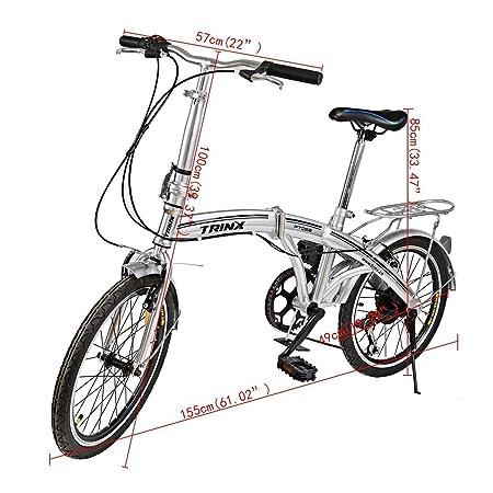 Ridgeyard Bicicleta Plegable 20 Pulgadas de 6 velocidades Bici Plegable Folding Bike Bicycle Shimano (Plata-2): Amazon.es: Deportes y aire libre