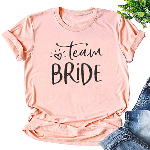 81c65d7d wlsomegoo Team Bride T-Shirt Women's Funny Graphic Letter Printed Tee Tops  for Bachelorette Party