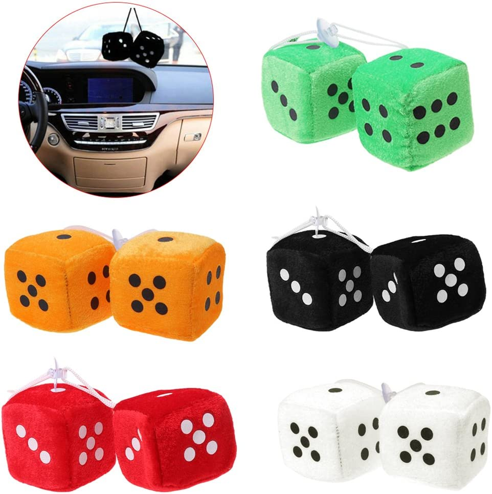 LDA Get Fresh 1 Pair Fuzzy Dice Dots Rear View Mirror Hanger Decoration Car Styling Accessorie Red