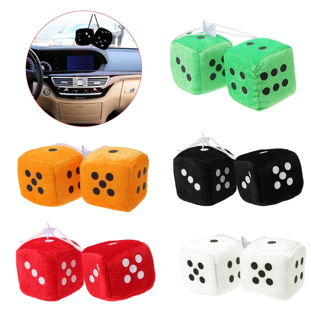 Fuzzy Dice 1 Pair Dots Rear View Mirror Hanger Decoration Car Styling Accessorie