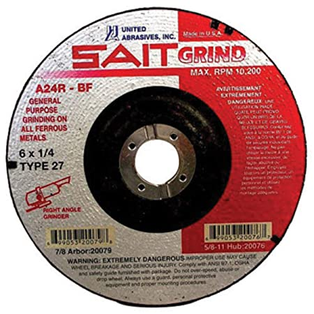 """United Abrasives SAIT 7 inch Diameter Type 27 Grinding Wheel 5//8/""""-11 Hubbed A24R"""