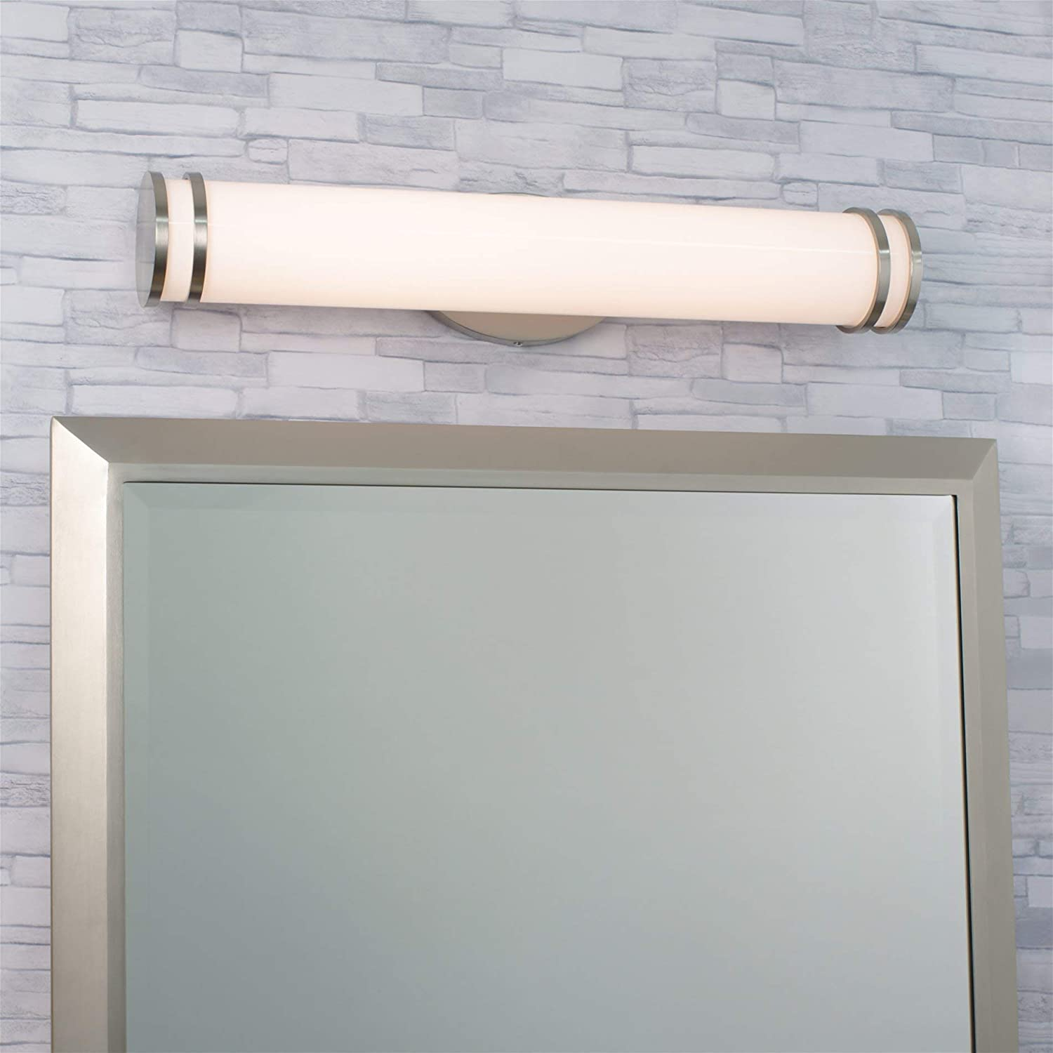 Kira Home Odin 24 Modern Linear Bathroom Vanity Light Integrated 20W LED Vertical or Horizontal Frosted Cylinder Shade Energy Efficient 2700k Warm White Light Brushed Nickel Finish