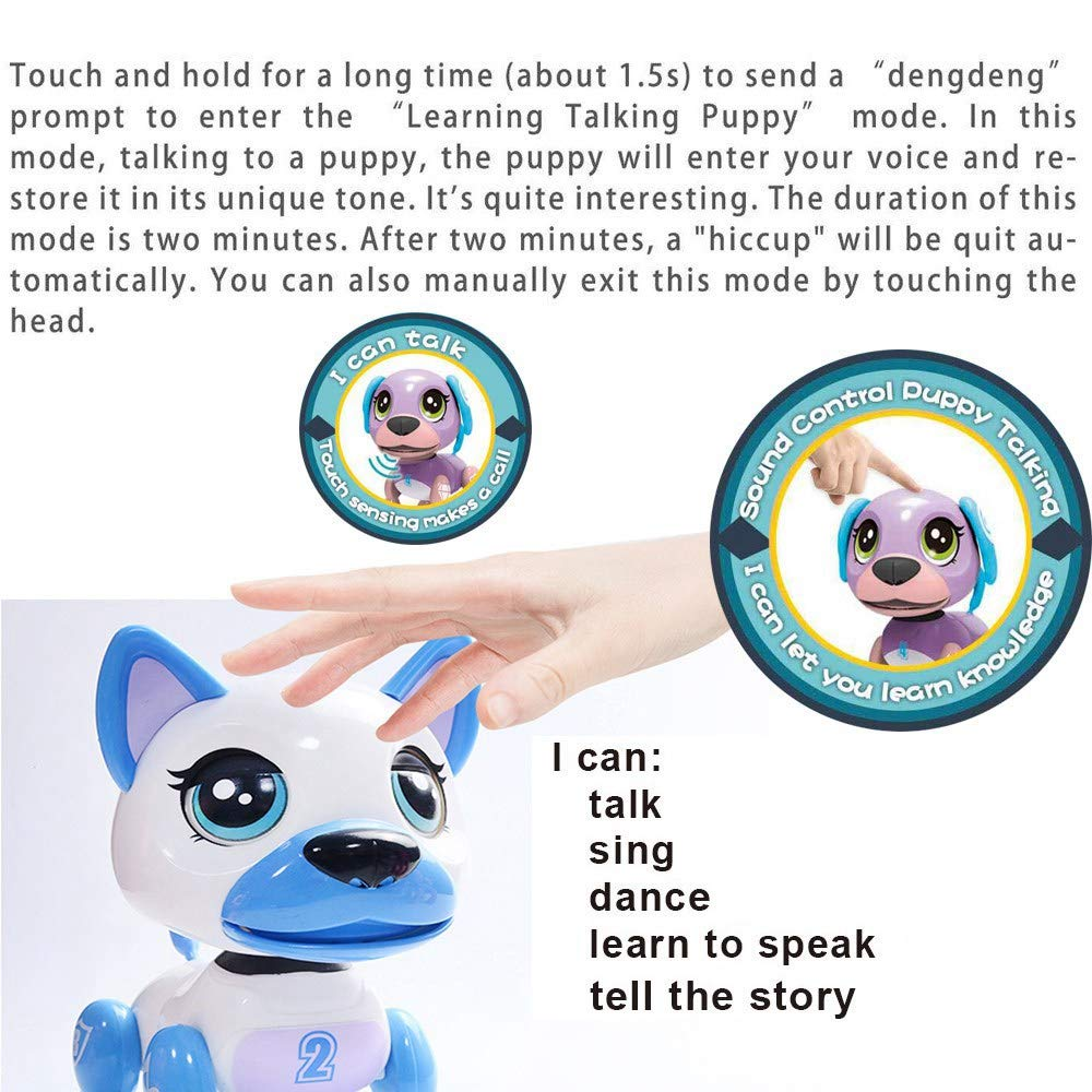 amdohai Interactive Puppy - Smart Pet, Electronic Robot Dog Toys for Age 3 4 5 6 7 8 Year Old Girls, Gifts Idea for Kids ● Voice Control&Intelligent Talking (Pink) by amdohai (Image #5)